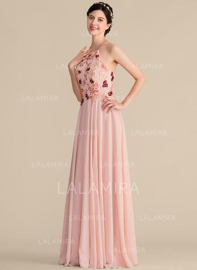 Vestidos princesa/ Formato A Decote redondo Longos Tecido de seda Renda Vestido de madrinha (007165835)