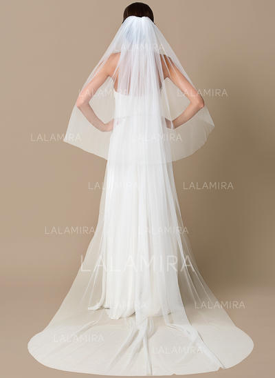 Chapel Bridal Veils Tulle Two-tier Drop Veil With Cut Edge Wedding Veils (006151804)
