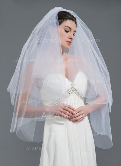 Elbow Bridal Veils Tulle Two-tier Oval With Cut Edge Wedding Veils (006152200)