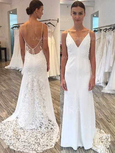Sheath/Column Satin Lace Sleeveless Deep V Neck Sweep Train Wedding Dresses (002144930)