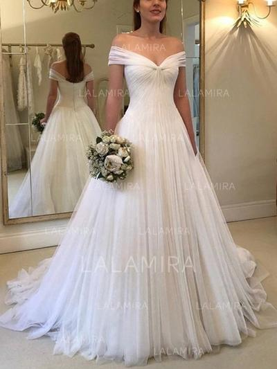 A-Line/Princess Off-The-Shoulder Sweep Train Wedding Dresses With Ruffle (002218045)