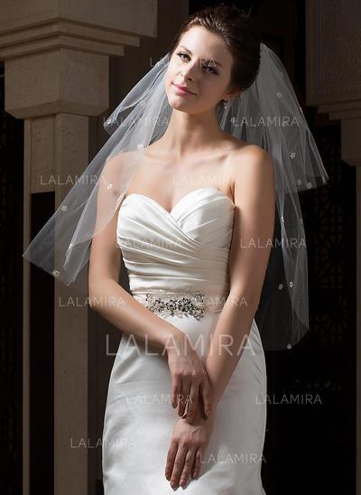 ead5066d2 Cotovelo véus nupciais Tule Duas camada Clássico com Corte da borda Véus de  casamento (006034298
