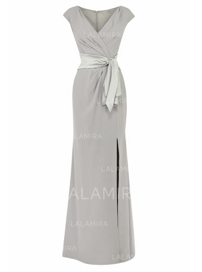 Empire V-neck Floor-Length Mother of the Bride Dresses With Split Front (008146317)