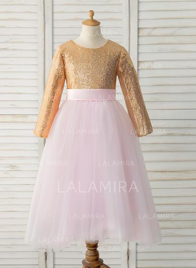 Corte A Longos Vestidos de Menina das Flores - Tule/Lantejoulas Manga comprida Decote redondo (010183518)