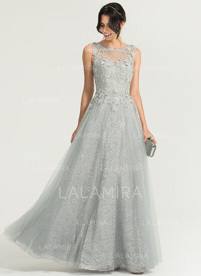 A-Line/Princess Scoop Neck Floor-Length Tulle Evening Dress (017167685)