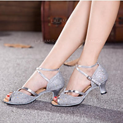 Women's Latin Heels Sandals Pumps Sparkling Glitter With Ankle Strap Hollow-out Sequin Dance Shoes (053180731)