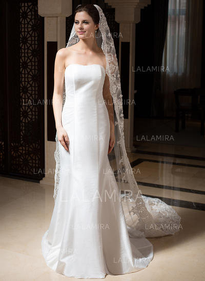 Cathedral Bridal Veils Tulle One-tier Drop Veil With Lace Applique Edge Wedding Veils (006151460)