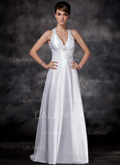 Luxurious Charmeuse Halter Sleeveless Wedding Dresses (002001609)