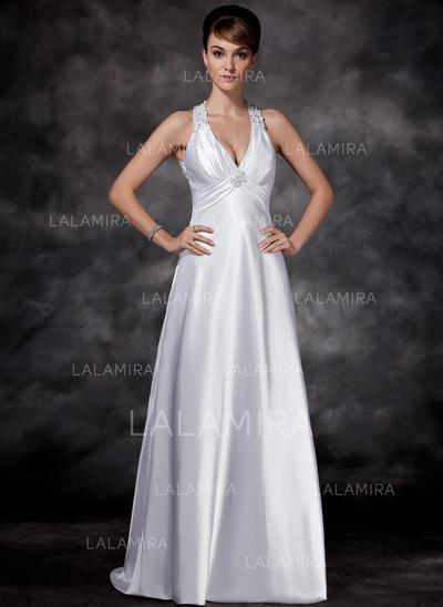 Lyxig Charmeuse Halterneck-Ringning Ärmlös Bröllopsklänningar (002001609)