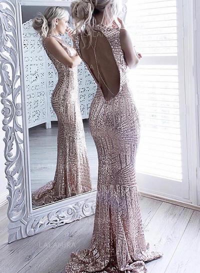 Newest Sequined Evening Dresses Trumpet/Mermaid Sweep Train Scoop Neck Sleeveless (017146985)