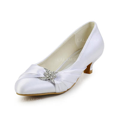 Women's Closed Toe Pumps Kitten Heel Satin With Rhinestone Wedding Shoes (047203223)