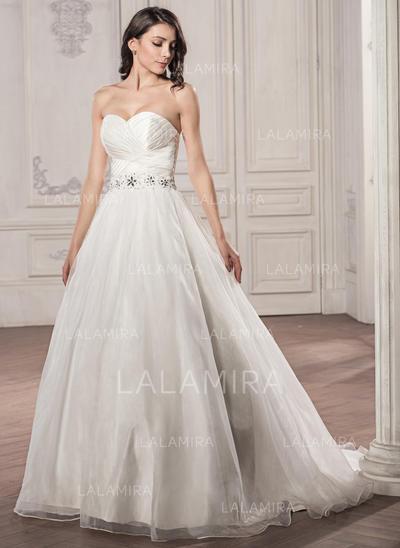 Sem Mangas Geral Mais Coração com Cetim Organza de Vestidos de noiva (002059190)