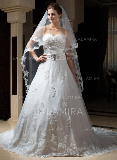 Chapel Bridal Veils Tulle Two-tier Drop Veil With Lace Applique Edge Wedding Veils (006151170)