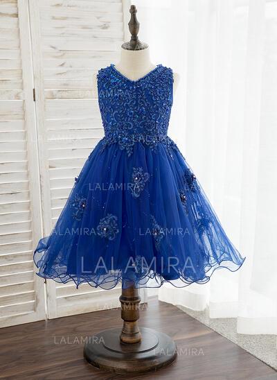 Corte A Coquetel Vestidos de Menina das Flores - Tule/Renda Sem magas Decote V com Beading/fecho de correr/lantejoulas (010172344)
