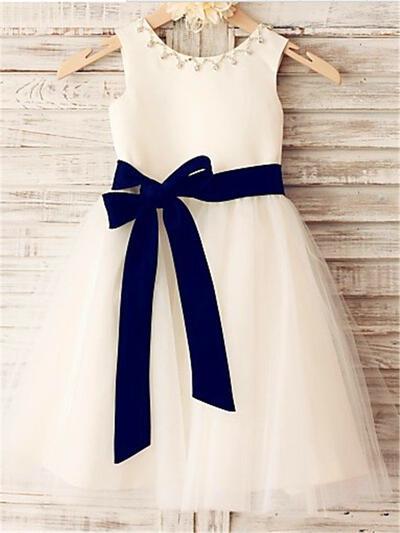 Scoop Neck A-Line/Princess Flower Girl Dresses Satin/Tulle Sash/Beading Sleeveless Knee-length (010211830)