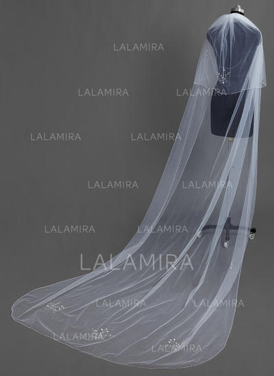 Chapel Bridal Veils Tulle Two-tier Drop Veil With Beaded Edge Wedding Veils (006151734)
