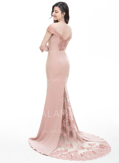 Trumpet/Mermaid Off-the-Shoulder Court Train Stretch Crepe Prom Dresses (018105787)