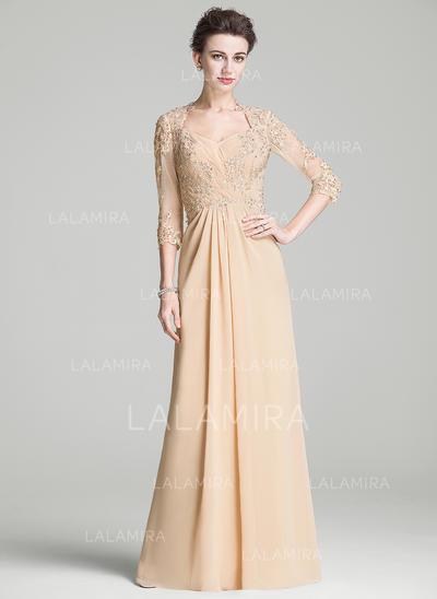 Corte A/Princesa Gasa Mangas 3/4 Novio Hasta el suelo Cremallera Vestidos de madrina (008068797)