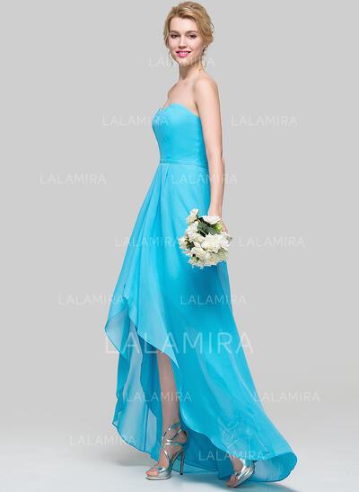 A-Line Sweetheart Asymmetrical Chiffon Bridesmaid Dress (007094162)