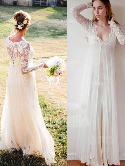 Deep V Neck Empire Wedding Dresses Chiffon Lace Long Sleeves Floor-Length (002213454)