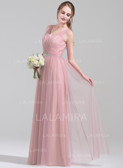 A-Line/Princess V-neck Floor-Length Tulle Bridesmaid Dress With Ruffle Beading Sequins (007072790)