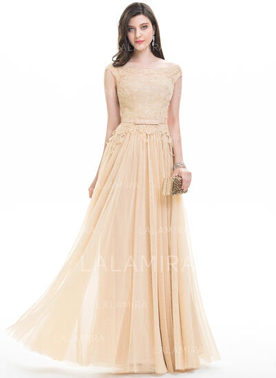 A-Line/Princess Off-the-Shoulder Floor-Length Tulle Evening Dress With Bow(s) (017105890)