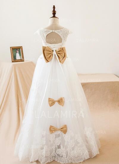A-Line/Princess Floor-length Flower Girl Dress - Tulle/Lace Sleeveless V-neck With Sash/Bow(s)/Back Hole (010103713)