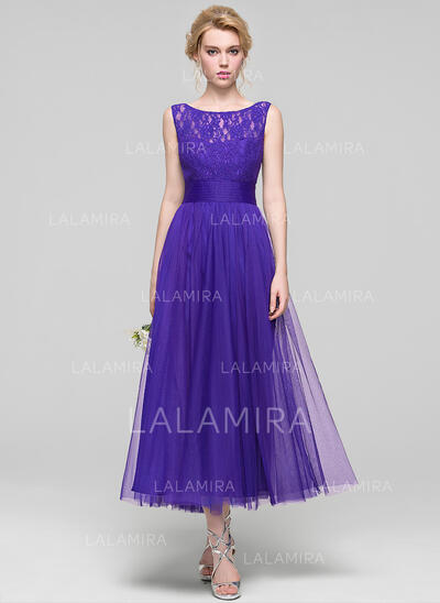 A-Line/Princess Scoop Neck Ankle-Length Tulle Bridesmaid Dress With Ruffle (007090185)
