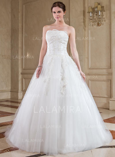 Lace Sleeveless Strapless Tulle Ball-Gown Wedding Dresses (002210413)