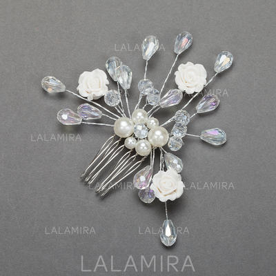 """Combs & Barrettes Wedding/Special Occasion/Party Crystal/Alloy 3.74""""(Approx.9.5cm) 3.54""""(Approx.9cm) Headpieces (042154303)"""