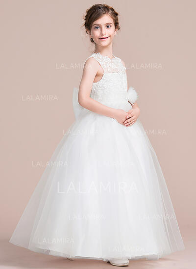Ankle-length Flower Girl Dress - Satin/Tulle Sleeveless Scoop Neck With Appliques/Flower(s) (010106128)
