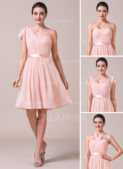 A-Line/Princess Sweetheart Knee-Length Chiffon Bridesmaid Dress With Ruffle Bow(s) (007057704)