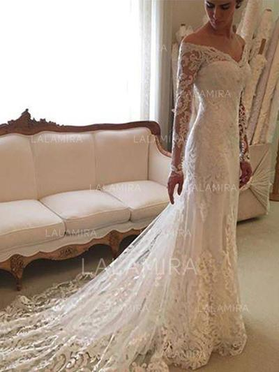 Sexy Off-The-Shoulder Sheath/Column Wedding Dresses Court Train Lace Long Sleeves (002210830)