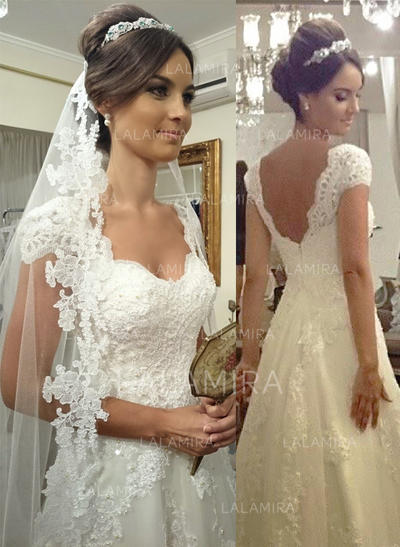 A-Line/Princess Sweetheart Court Train Tulle Lace Wedding Dresses (002144865)