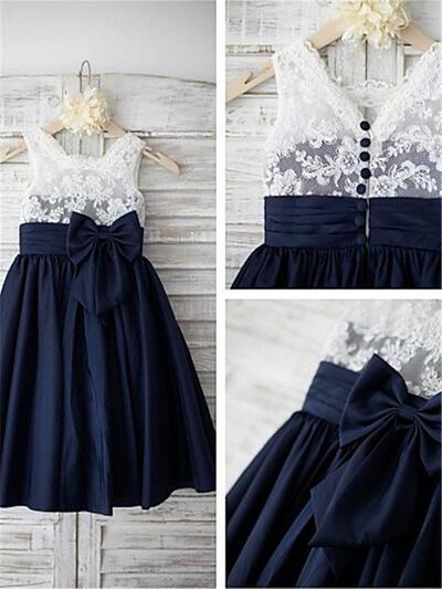 Straps A-Line/Princess Flower Girl Dresses Bow(s) Sleeveless Tea-length (010211827)