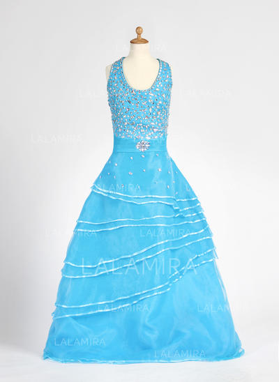 Floor-length Halter Organza/Satin Flower Girl Dresses With Beading (010007712)