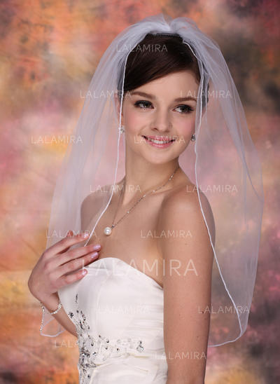 Elbow Bridal Veils Tulle One-tier Oval With Pencil Edge Wedding Veils (006150831)