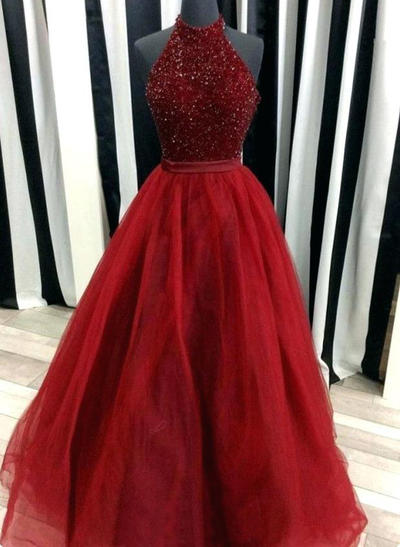 Floor-Length Sleeveless Ball-Gown Tulle - Prom Dresses (018210193)