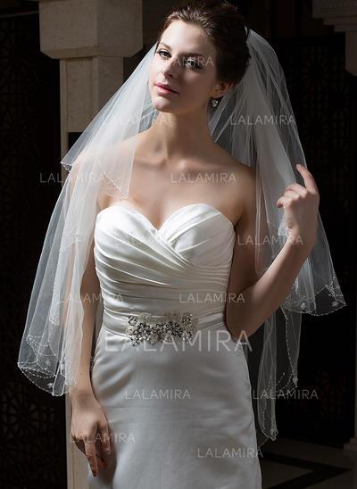 Yema del dedo velos de novia Tul Dos capas Estilo clásico con Borde en perla/Lápiz Velos de novia (006034305)