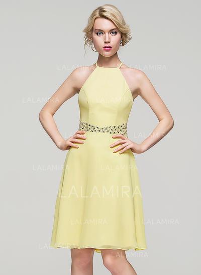 Decote redondo Sem magas Tecido de seda Deslumbrante Vestidos de boas vindas (022214074)