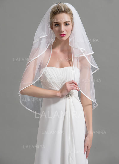 Elbow Bridal Veils Tulle Three-tier Classic With Pencil Edge Wedding Veils (006151950)
