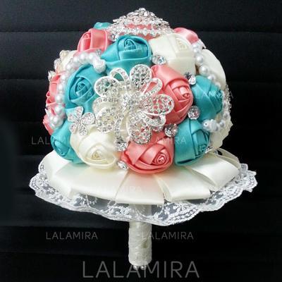 "Bridal Bouquets Round Wedding Satin 10.24""(Approx.26cm) Wedding Flowers (123188843)"