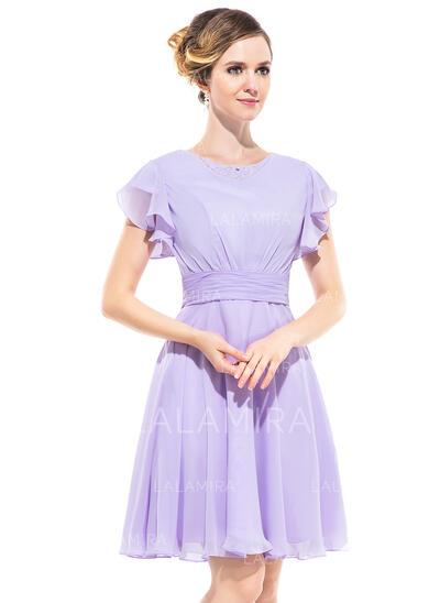 A-Line/Princess Scoop Neck Knee-Length Chiffon Bridesmaid Dress With Beading Cascading Ruffles (022051358)