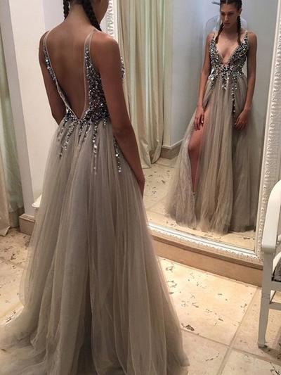 A-Line/Princess V-neck Tulle Sleeveless Gorgeous Prom Dresses (018145870)