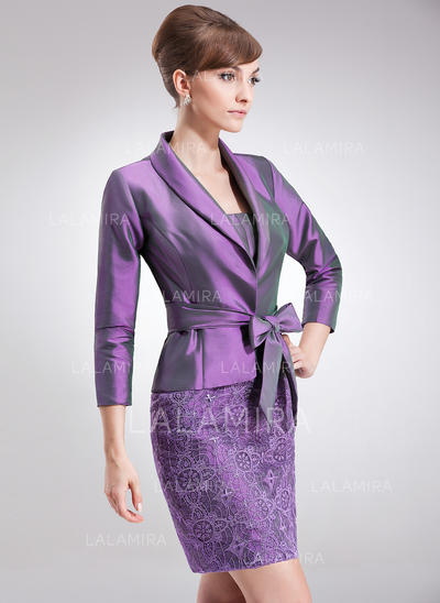 Sheath/Column Taffeta Lace Sleeveless Strapless Knee-Length Zipper Up Mother of the Bride Dresses (008006245)