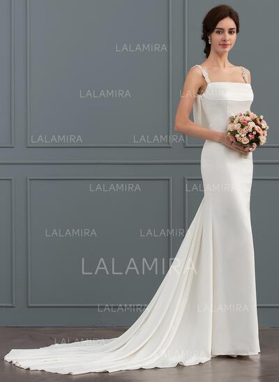 Trompete/Sereia Decote quadrado Cauda longa Crepe Elástico Vestido de noiva com Beading (002124272)