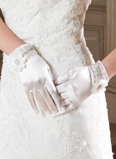 Elastic Satin Ladies' Gloves Wrist Length Party/Fashion Gloves Fingertips Gloves (014191979)