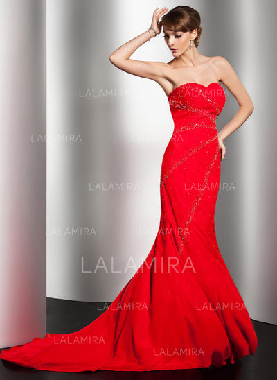 Luxurious Chiffon Trumpet/Mermaid Zipper Up Evening Dresses (017014550)