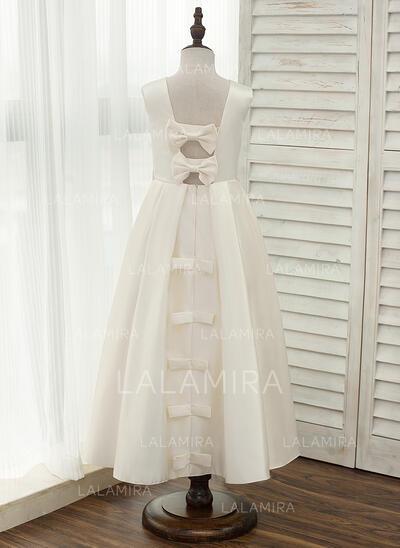 A-Line/Princess Ankle-length Flower Girl Dress - Satin Sleeveless Scoop Neck With Bow(s)/Rhinestone/Back Hole (010141203)