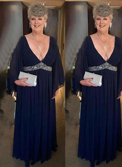 Vestidos princesa/ Formato A Decote V Tecido de seda Fashion Vestidos para a mãe da noiva (008212782)